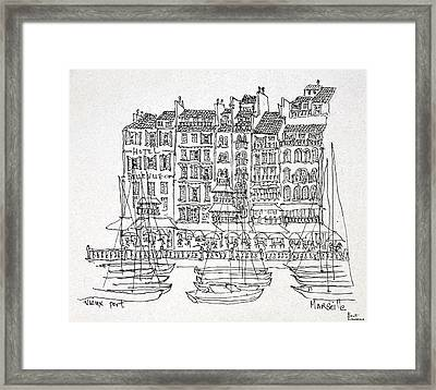 Boats Moored In The Vieux-port Framed Print