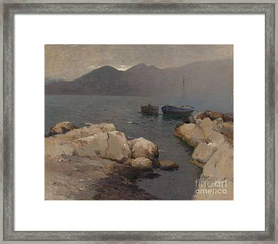 Boats Moored Off The Coast Framed Print by Celestial Images