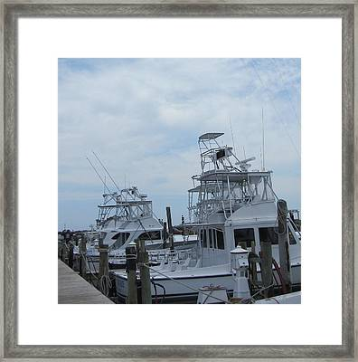 Framed Print featuring the photograph Boats Of Oregon Inlet by Cathy Lindsey