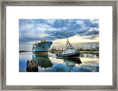 Boats On A Canal Framed Print