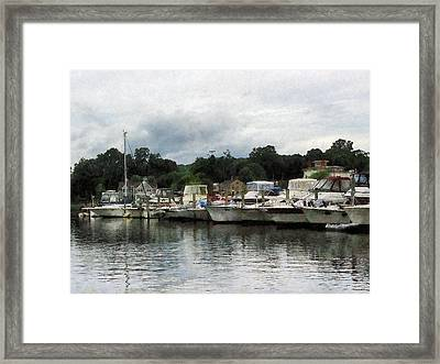 Boats On A Cloudy Day Essex Ct Framed Print by Susan Savad