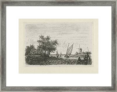 Boats On A Lake, Joseph Hartogensis Framed Print by Joseph Hartogensis