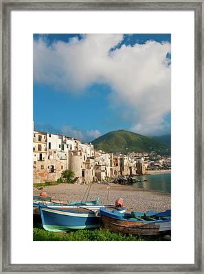 Boats On Beach, Cefalu, N Coast, Sicily Framed Print