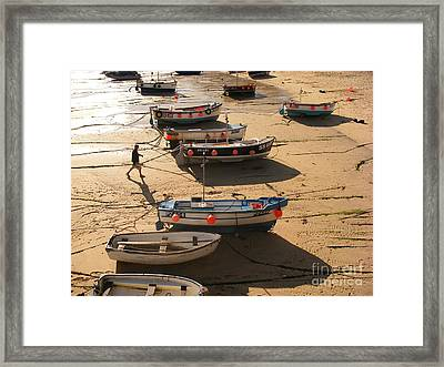 Boats On Beach Framed Print by Pixel  Chimp