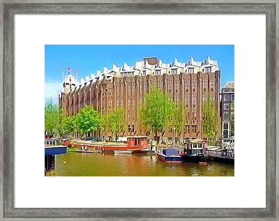 Boats On Canal In The City Of Amsterdam Framed Print by Lanjee Chee