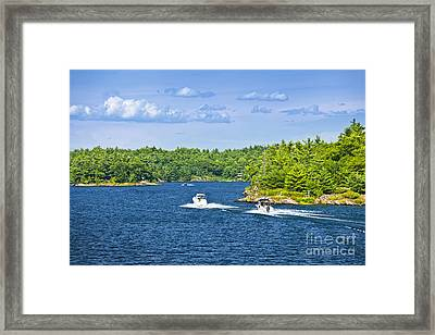 Boats On Georgian Bay Framed Print by Elena Elisseeva