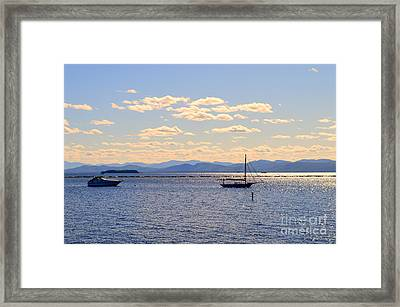 Boats On Lake Champlain Vermont Framed Print by Catherine Sherman