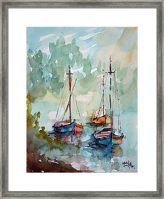 Framed Print featuring the painting Boats On Lake  by Faruk Koksal