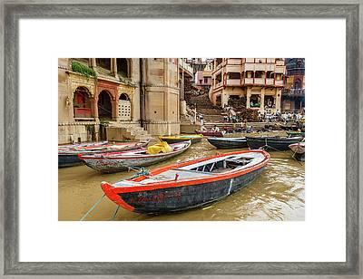 Boats On River Ganges, Varanasi, India Framed Print by Ali Kabas
