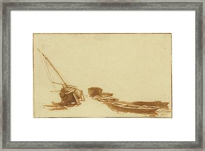 Boats On Shore And In Water Jan De Bisschop Framed Print by Litz Collection