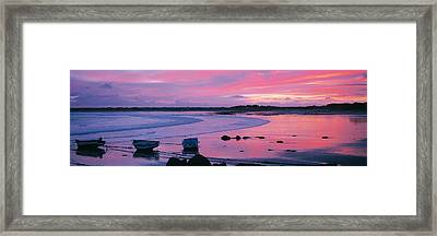Boats On The Beach At Sunrise, Pors Framed Print by Panoramic Images