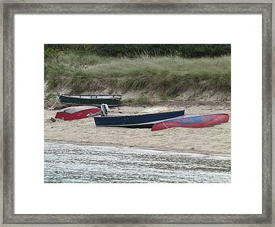 Boats On The Beach Framed Print by Marci Spotts