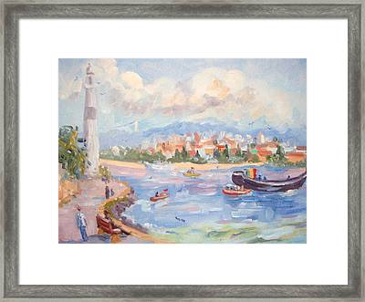 Boats On The Bosphorus Istanbul Framed Print