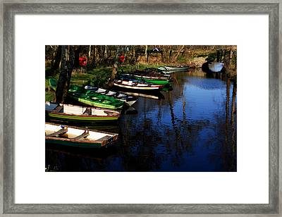 Boats On The River  Framed Print by Aidan Moran