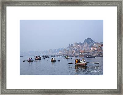 Boats On The River Ganges At Varanasi In India Framed Print by Robert Preston