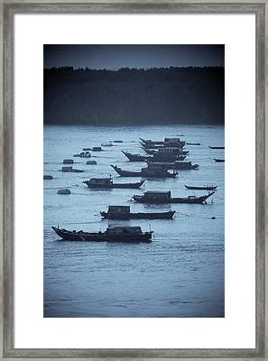 Boats On The Saigon River Near Ho Chi Framed Print