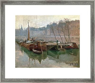 Boats On The Seine Framed Print by Roberto Prusso