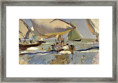 Boats On The Shore Framed Print