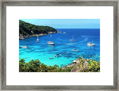Boats On Tropical Waters Framed Print by Kaye Menner