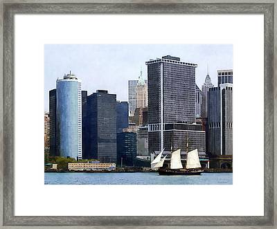 Boats - Schooner Against The Manhattan Skyline Framed Print by Susan Savad