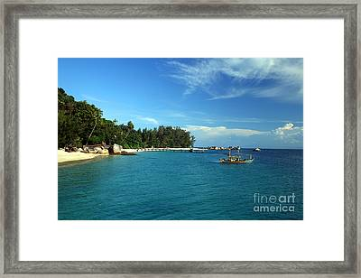 Boats With Beautiful Sea Framed Print by Boon Mee
