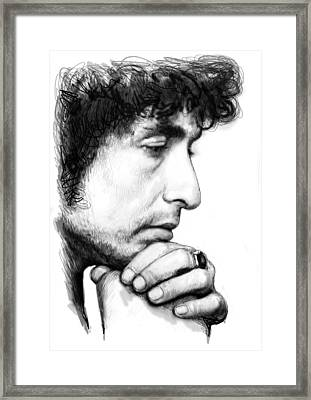 Bob Dylan Blackwhite Drawing Sketch Poster Framed Print by Kim Wang