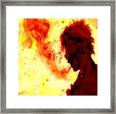 Bob Dylan Burning One Framed Print