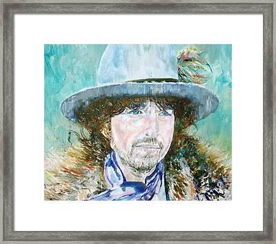 Bob Dylan Oil Portrait Framed Print by Fabrizio Cassetta
