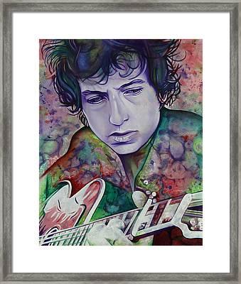 Bob Dylan-pink And Green Framed Print by Joshua Morton