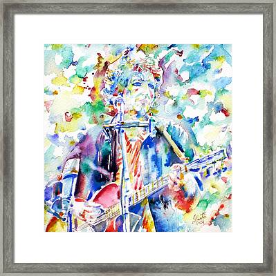 Bob Dylan Playing The Guitar - Watercolor Portrait.1 Framed Print by Fabrizio Cassetta