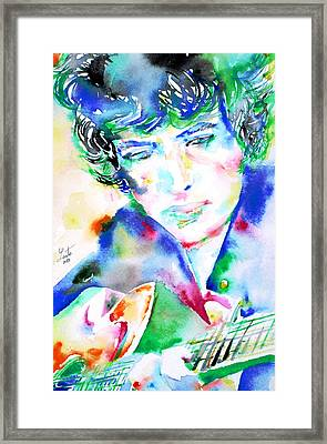 Bob Dylan Playing The Guitar - Watercolor Portrait.2 Framed Print by Fabrizio Cassetta