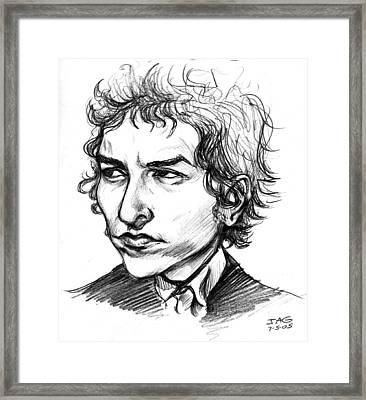 Framed Print featuring the drawing Bob Dylan Sketch Portrait by John Ashton Golden