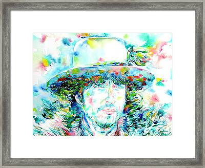 Bob Dylan - Watercolor Portrait.2 Framed Print by Fabrizio Cassetta