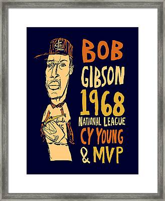Bob Gibson St Louis Cardinals Framed Print by Jay Perkins