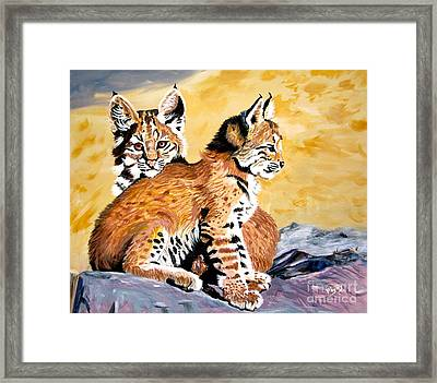 Framed Print featuring the painting Bob Kittens by Phyllis Kaltenbach