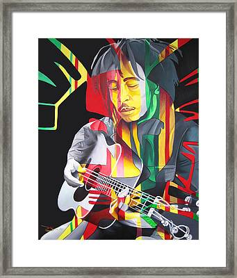 Bob Marley And Rasta Lion Framed Print by Joshua Morton