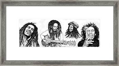 Bob Marley Art Drawing Sketch Poster Framed Print by Kim Wang