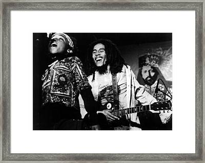 Bob Marley Behind Kid Singing Framed Print by Retro Images Archive