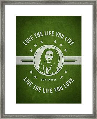 Bob Marley - Green Framed Print by Aged Pixel