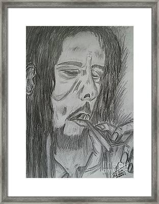 Bob Marley Pencil Portrait Art Framed Print by Collin A Clarke