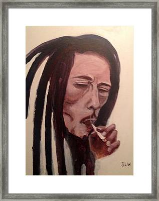 Framed Print featuring the painting Bob Marley by Justin Lee Williams
