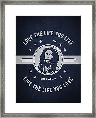 Bob Marley - Navy Blue Framed Print by Aged Pixel