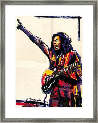 Bob Marley - One Love Framed Print by Everett Spruill