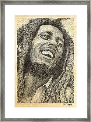 Bob Marley Pen Drawing Framed Print by Jeffrey St Romain