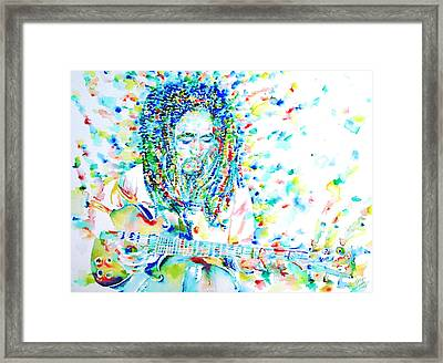 Bob Marley Playing The Guitar - Watercolor Portarit Framed Print by Fabrizio Cassetta