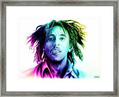 Bob Marley  Rainbow Effect Framed Print