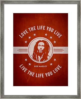 Bob Marley - Red Framed Print by Aged Pixel
