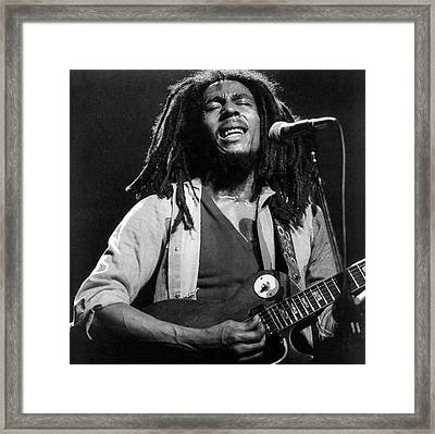 Bob Marley Singing Into The Microphone Framed Print