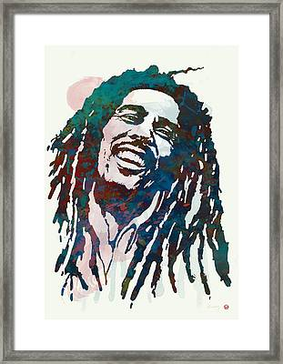 Bob Marley Stylised Etching Pop Art Poster Framed Print