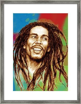 Bob Marley Stylised Pop Art Drawing Potrait Poser Framed Print